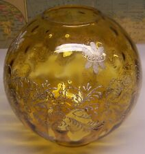 Nice Vintage Hand Painted Amber Glass Globe Shade for Gone With Wind Lamp
