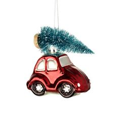Vintage Red Car & Christmas Tree Glass Bauble Decoration Beetle Herbie Style