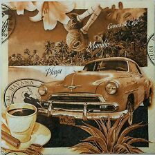 VINTAGE CUBA POST CARD 2 single paper napkins for decoupage LUNCH SZ 3-ply