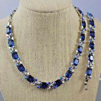 Vintage LISNER Beautiful Blue & AB Rhinestone Necklace Bracelet Set Silver Tone