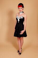 Impresionante cosecha Negro Blanco Perla Jessica Mclintock Gunne Sax Con muchas Cuentas Baile de graduación Vestido