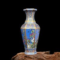 Marks Chinese Cloisonne Color porcelain Hand-painted Hexagonal Flower Bird Vase