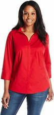 Riders By Lee Indigo Women's Plus-Size 3/4 Sleeve Woven Shirt, Classic Red, 1X
