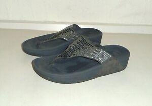 FITFLOP - Grey Suede/Silver Jewells Flip-Flops Sandals Slides UK6 EU39