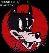 """8"""" Wolf Head Back Patch Big Bad Wolf Cartoon No Club Lone Wolf"""