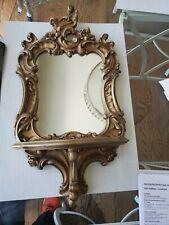 Vintage Syroco Gold Mirror With Shelf Hollywood Regency Ornate Florentine