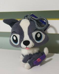 LITTLEST PET SHOP LPS GREY DOG ON KEYCHAIN 2009 HASBRO!