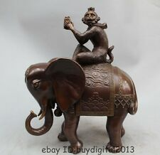 "16"" Lucky Chinese Pure Brozne Wealth Monkey Hold Seal Ride Elephant Animal"