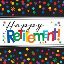 16pk Happy Retirement 2ply Paper Luncheon Napkins Serviettes Party Tableware