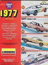 VINTAGE AD SHEET #1833 - LINDBERG - SNAP FIT NEW CAR KITS 1977