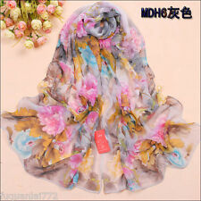 Fashion Women Long Print long 100% silk scarf Wrap Ladies Shawl Girls Large