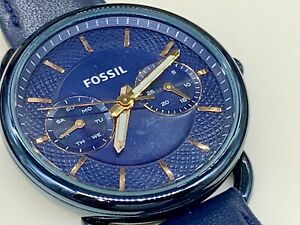 Fossil Women's Quartz Stainless Steel and Leather Casual Watch Blue ES4092 BOXED