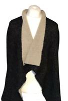 ZARA Knit Women's Cardigan Sleeved Wrap Black Grey Wool Acrylic Blend Medium