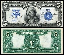 New! Repro 1899 Indian Chief $5 Silver Cert Us Banknote, Large size, High Resol