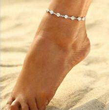 Silver Plated Ankle Bracelet Women Anklet Adjustable Chain Foot Gift Elegant UK