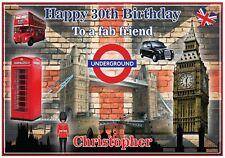 Personalised London Calling English Themed Birthday Card - Nostalgic & Fun !