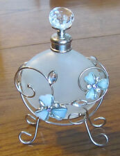 Round Frosted Glass Perfume Bottle with Stopper Wire Holder Butterflies