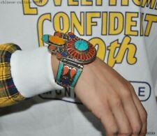 Tibet Buddhis silver Inlay Beeswax turquoise gem Exorcism amulet Bangle Bracelet