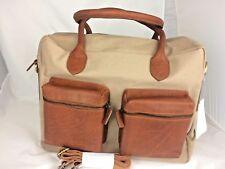 Handmade Buff Oil Pull-up Genuine Leather/Canvas Executive/OfficeBag 38x29x12cm