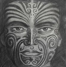 CANVAS  nz tane maori kiwi new zealand warrior of forest tattoo face 500mm