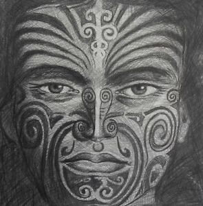 nz maori kiwi new zealand warrior painting drawing tattoo face  canvas
