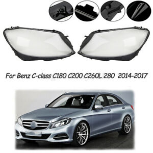 Pair Headlight Side Cover For Mercedes Benz W205 C180 C200 C260L/280/300 14-2017