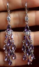 18K White Gold Filled - 2.6'' Waterdrop Amethyst Wedding Chandelie Lady Earrings