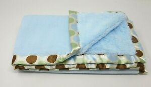 Blankets & Beyond Baby Crib Blanket Blue Green Brown Polka Dot Circle Satin Trim