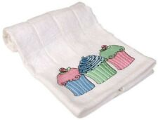 100% Cotton Shabby White Terry Embroidered Cupcake Kitchen Tea Towel Hand Towel