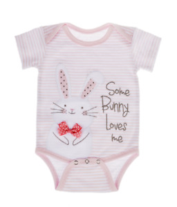 SOME BUNNY LOVES ME Diaper Shirt by Baby Ganz Size: 0-6 Months
