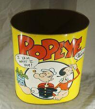 "Original Vintage Late 1960'S - 1970'S Popeye Metal Trash Can 13"" Tall Nice!"