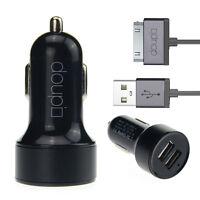 2in1 Dual USB Auto Lade Set Adapter Kabel 30pin iPhone 4 4S iPad iPod Schwarz