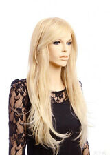 Women Girl Full Hair Long Straight Gold Blonde Synthetic Hair Cosplay Party Wig