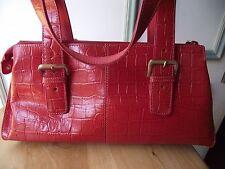 Franco Sarto crocodile embossed leather handbag double handles top zip red new