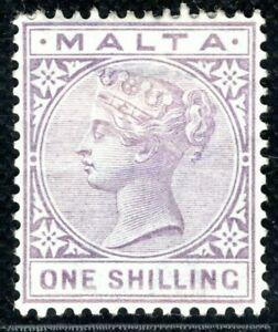 MALTA QV Stamp SG.29 1s Pale Violet (1890) Mint MM Cat £60 {samwells}BLBLUE27