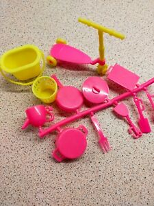 ACCESSORIES FOR BARBIE TYPE DOLL COOKING UTENSILS BUCKET & SCOOTER