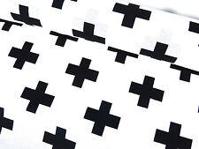 Robuster Stoff Baumwolle Mix Bezugsstoff Vorhangstoff Kreuze weiß schwarz 24012