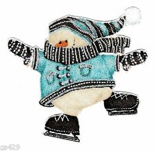 """3"""" WHIMSICAL BLUE SNOWMAN CHRISTMAS  HOLIDAY FABRIC APPLIQUE IRON ON CHARACTER"""