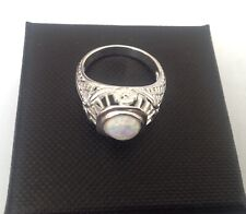 Art Deco Gilson Opal Sterling Silver openwork Ring October Birthstone Size N 1/2
