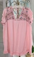 NEW~ Plus Size 2X Pink Gauze Embroidered Crochet Boho Peasant Blouse Top Shirt