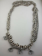Dangling Silvertone Crystal Rhinestone/Silver Bead Multiple Chain Necklace