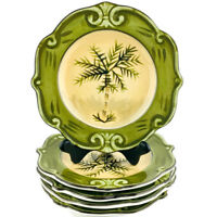 "4 Sauvignon West Indies Pattern Palm Trees Green Tan Ceramic 8"" Salad Plates"