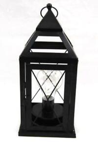 Circle Glass Battery Operated Hanging Patio Lantern Black