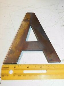 """Solid Brass Letter """"A"""" tarnished finish 5 inches 1/4 inch thick"""