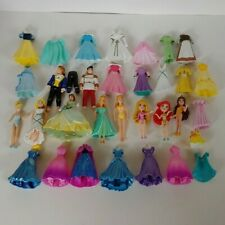Disney Princess Magiclip Polly Pocket Doll Lot Magic Clip Dresses