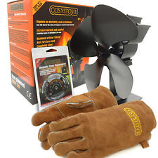 Cosystove® Heat Powered Stove Top Fan, Thermometer and Gloves - Wood Log Burner