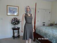 Ann Taylor LOFT Brown Tweed Fit & Flare Belted Sheath Dress Size 4