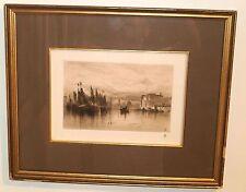 """A Cloudy Day in Venice"" Original Etching-1881-Samuel Colman-Hudson River Master"