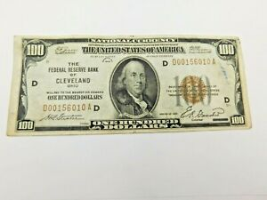 1929 $100 National Currency Federal Reserve Bank of Cleveland Ohio  (130)