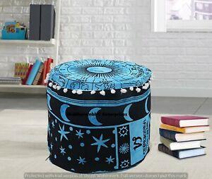 Boho Horoscope Mandala Pouf Cover Indian Cotton Ottoman Pouf Round Floor Pouffe